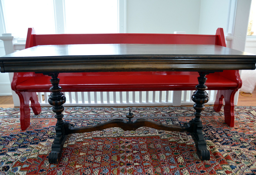 dining pew with table via Good Brown Gravy